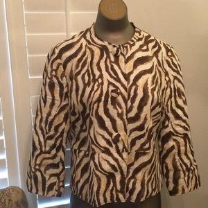 Rafaela petite 12p brown animal print linen jacket
